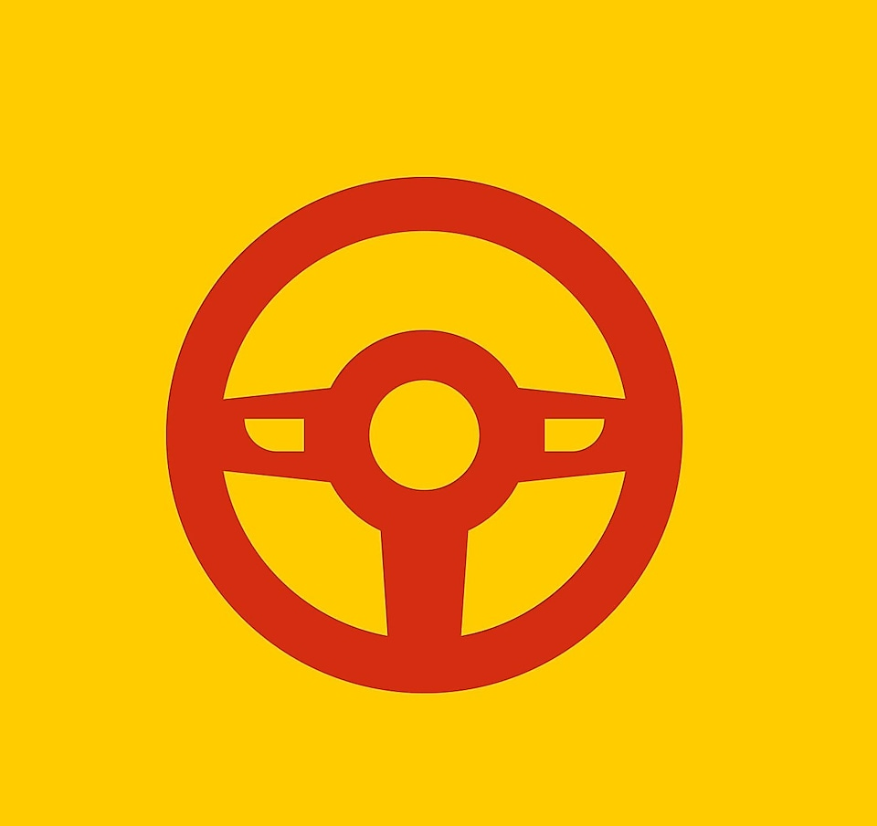 steering wheel graphic on yellow background